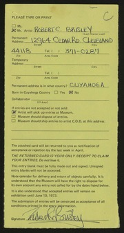 Entry card for Brisley, Robert Chapman for the 1973 May Show.