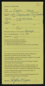 Entry card for Cagan, Steve for the 1973 May Show.