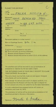 Entry card for Eglet, Norita Ann for the 1973 May Show.