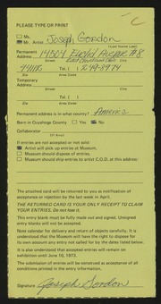 Entry card for Gordon, Joseph for the 1973 May Show.