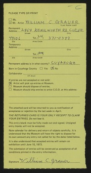 Entry card for Grauer, William C. for the 1973 May Show.