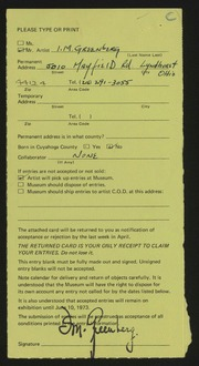 Entry card for Greenberg, Isadore M. for the 1973 May Show.