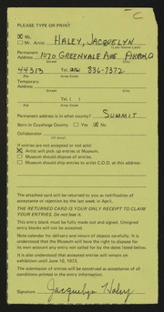 Entry card for Haley, Jacquelyn F. for the 1973 May Show.