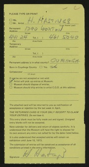 Entry card for Hastings, Harold for the 1973 May Show.