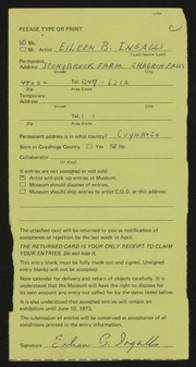 Entry card for Ingalls, Eileen B. for the 1973 May Show.