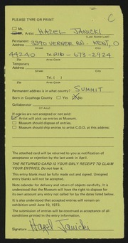 Entry card for Janicki, Hazel for the 1973 May Show.