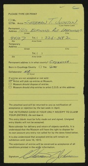 Entry card for Johnson, Sherman T. for the 1973 May Show.