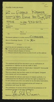Entry card for Kramer, Gerald for the 1973 May Show.