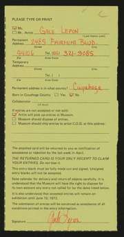 Entry card for Lepon, Gale R.  for the 1973 May Show.