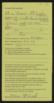 Entry card for McCombs, Bruce for the 1973 May Show.