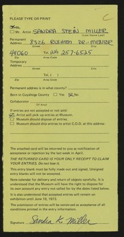 Entry card for Miller, Sandra Stein for the 1973 May Show.