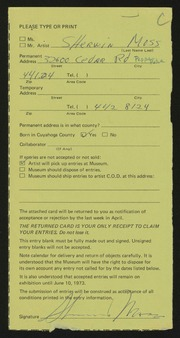Entry card for Moss, Sherwin S. for the 1973 May Show.