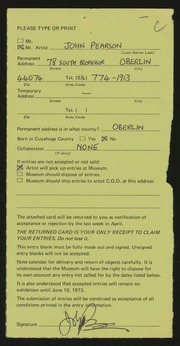 Entry card for Pearson, John for the 1973 May Show.
