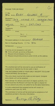 Entry card for Roby, George A. for the 1973 May Show.