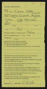 Entry card for Webb, Donna for the 1973 May Show.