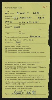Entry card for White, Stuart S. for the 1973 May Show.