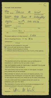 Entry card for Wint, Patricia M. for the 1973 May Show.