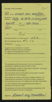 Entry card for Wootton, Stuart Roy for the 1973 May Show.