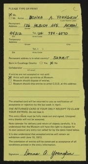 Entry card for Youngkin, Donna A. for the 1973 May Show.