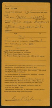 Entry card for Adams, Carol  for the 1974 May Show.