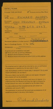 Entry card for Andres, Richard for the 1974 May Show.