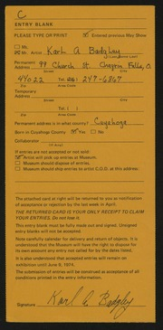 Entry card for Badgley, Karl A. for the 1974 May Show.