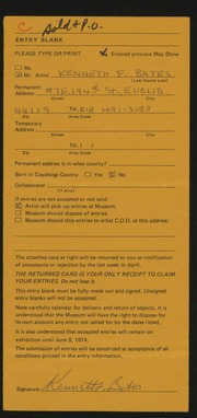 Entry card for Bates, Kenneth F. for the 1974 May Show.