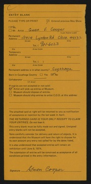 Entry card for Cooper, Gwen Voran for the 1974 May Show.