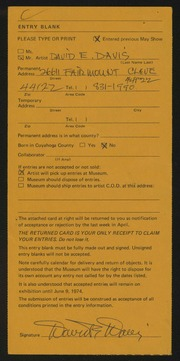 Entry card for Davis, David E. for the 1974 May Show.