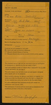 Entry card for DeGifis, Mina for the 1974 May Show.