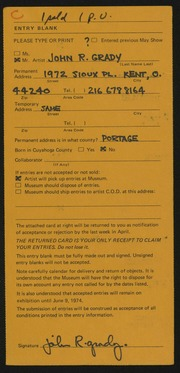 Entry card for Grady, John R. for the 1974 May Show.