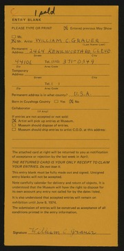 Entry card for Grauer, William C. for the 1974 May Show.