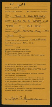Entry card for Hauserman, Joel Strong for the 1974 May Show.