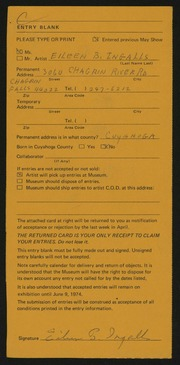 Entry card for Ingalls, Eileen B. for the 1974 May Show.