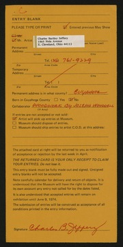 Entry card for Jeffery, Charles Bartley, and Wooddell, Joseph M. for the 1974 May Show.