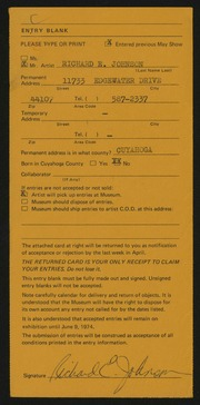 Entry card for Johnson, Richard E. for the 1974 May Show.