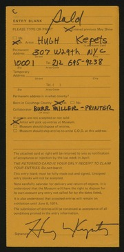 Entry card for Kepets, Hugh, and Miller, Burr for the 1974 May Show.