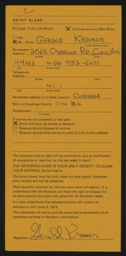 Entry card for Kramer, Gerald for the 1974 May Show.
