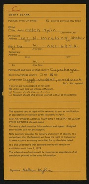 Entry card for Kylin, Helen, and Wooddell, Joseph M. for the 1974 May Show.