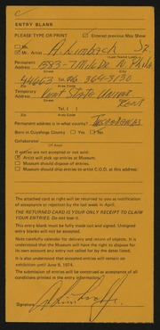 Entry card for Limbach, A., Jr.  for the 1974 May Show.