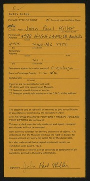Entry card for Miller, John Paul for the 1974 May Show.
