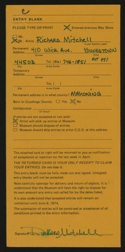 Entry card for Mitchell, Richard for the 1974 May Show.