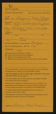 Entry card for Moore, Gregory Todd for the 1974 May Show.