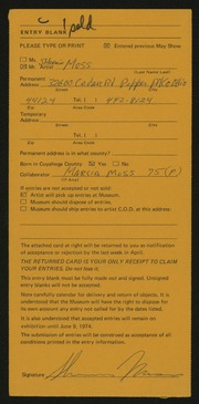 Entry card for Moss, Sherwin S. for the 1974 May Show.