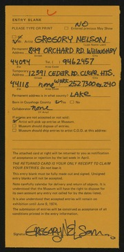 Entry card for Nelson, Gregory for the 1974 May Show.