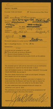 Entry card for Remington, James D. for the 1974 May Show.