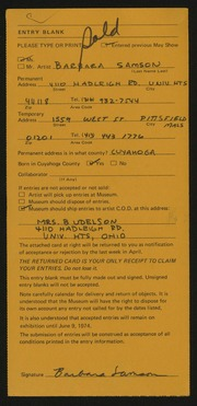 Entry card for Samson, Barbara Udelson for the 1974 May Show.