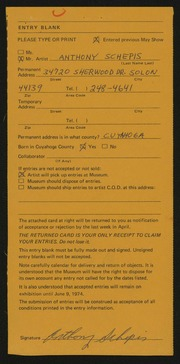 Entry card for Schepis, Anthony Joseph for the 1974 May Show.