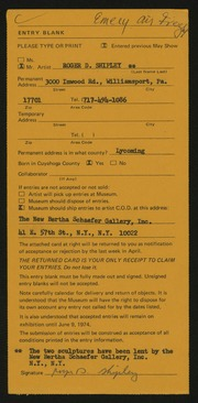 Entry card for Shipley, Roger D. for the 1974 May Show.