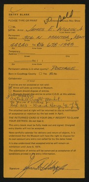 Entry card for Wilcox, James E., Jr. for the 1974 May Show.